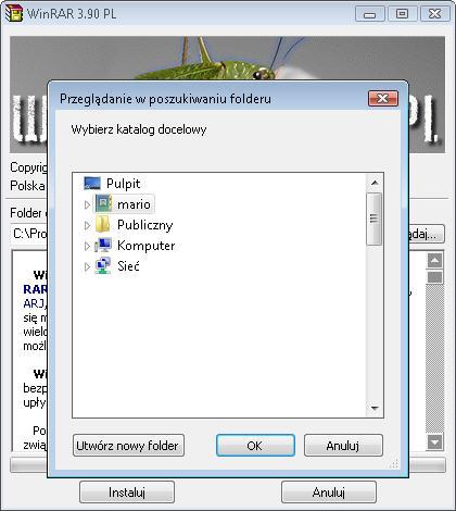Wybierz folder docelowy instalacji