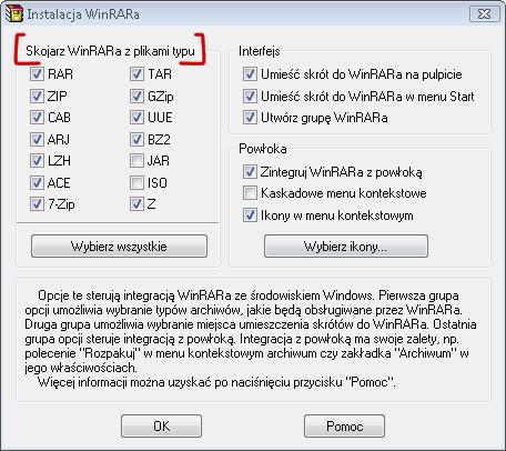Ustawienia kojarzenia plików w WinRAR