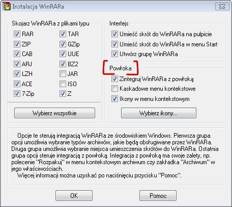 Integracja WinRAR'a z powłoką systemu